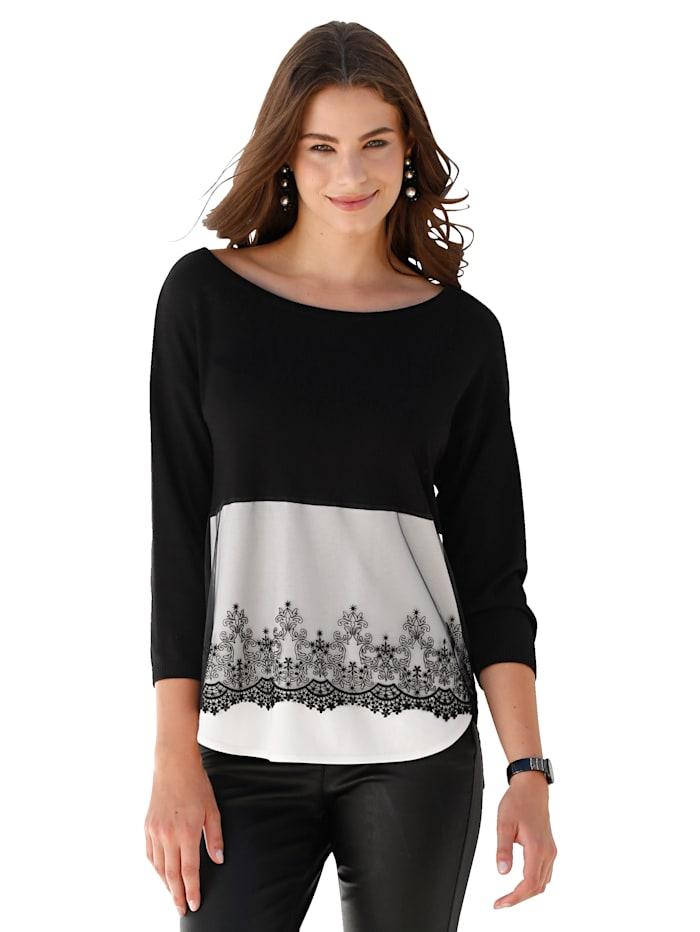 AMY VERMONT Pullover mit besticktem Netzeinsatz, Schwarz/Weiß