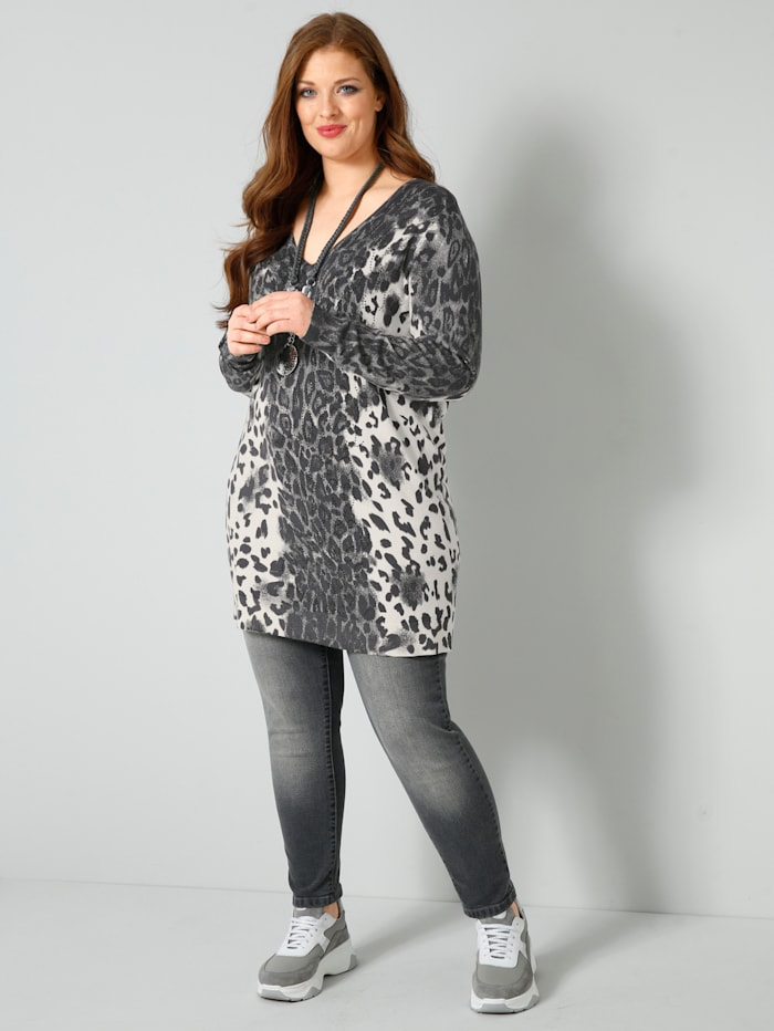 Lång tröja med leopardmönster