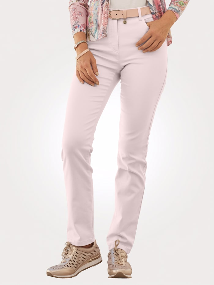 Relaxed by Toni Trousers made from cotton-rich stretch fabric, Rosé