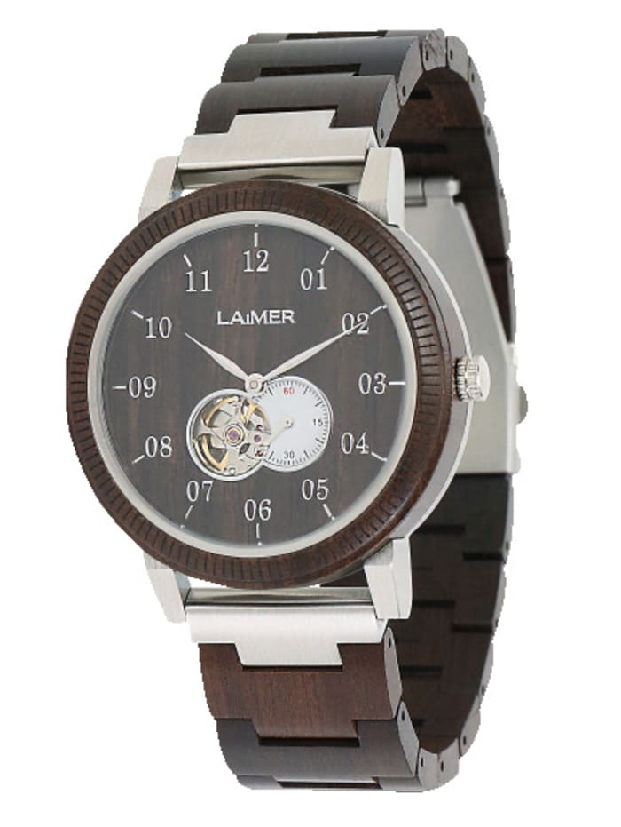 Laimer Herren-Automatikuhr ROBIN 0120, Dunkelbraun