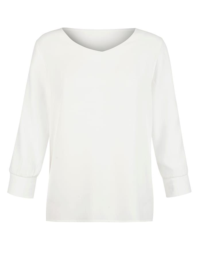 AMY VERMONT Bluse mit Netzärmeln, Weiß
