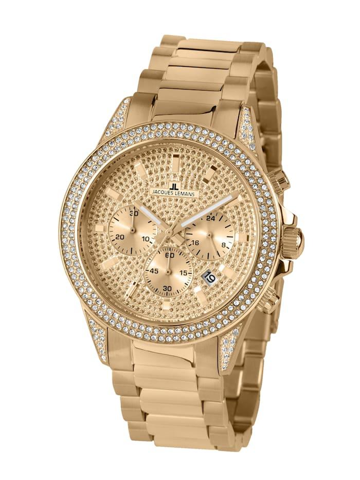 Jacques Lemans Damen-Chronograph Uhr SERIE LA PASSION 1-2051C, Gelbgoldfarben