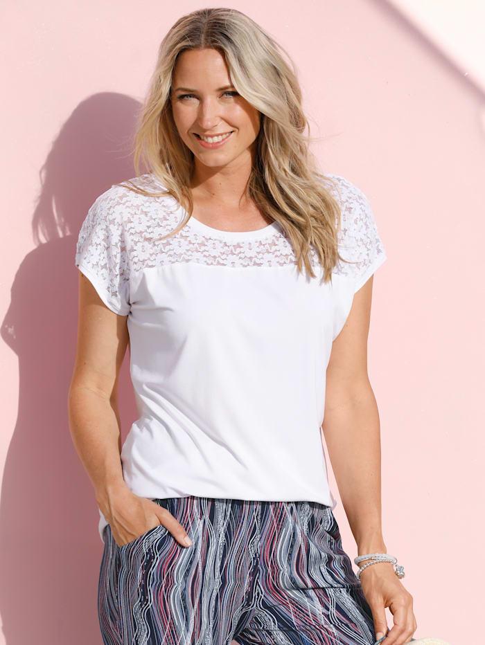 MIAMODA Shirt mit elastischem Spitzeneinsatz, Weiß
