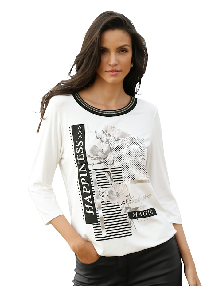 AMY VERMONT Shirt met print voor, Offwhite/Zwart