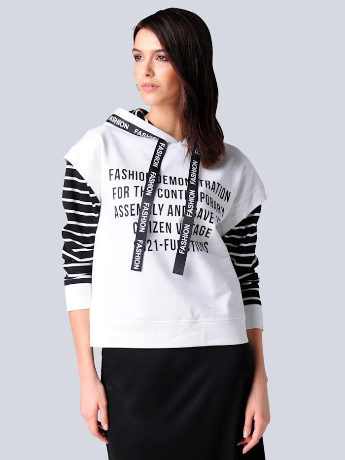 Alba Moda Sweatshirt mit modischen Details, Off-white/Schwarz