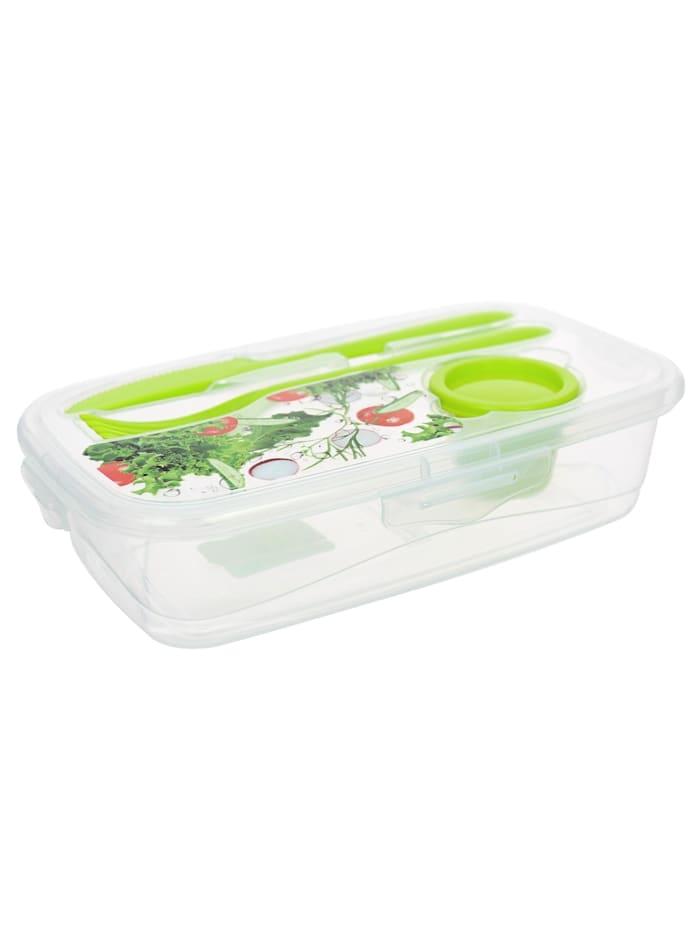 Neuetischkultur Frischhaltedose mit Besteck Easylunch, Transparent, Grün