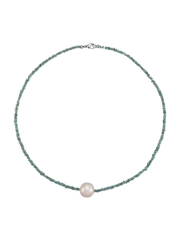 Amara Perle Rohdiamantkette mit Süßwasser-Zuchtperle, Grün