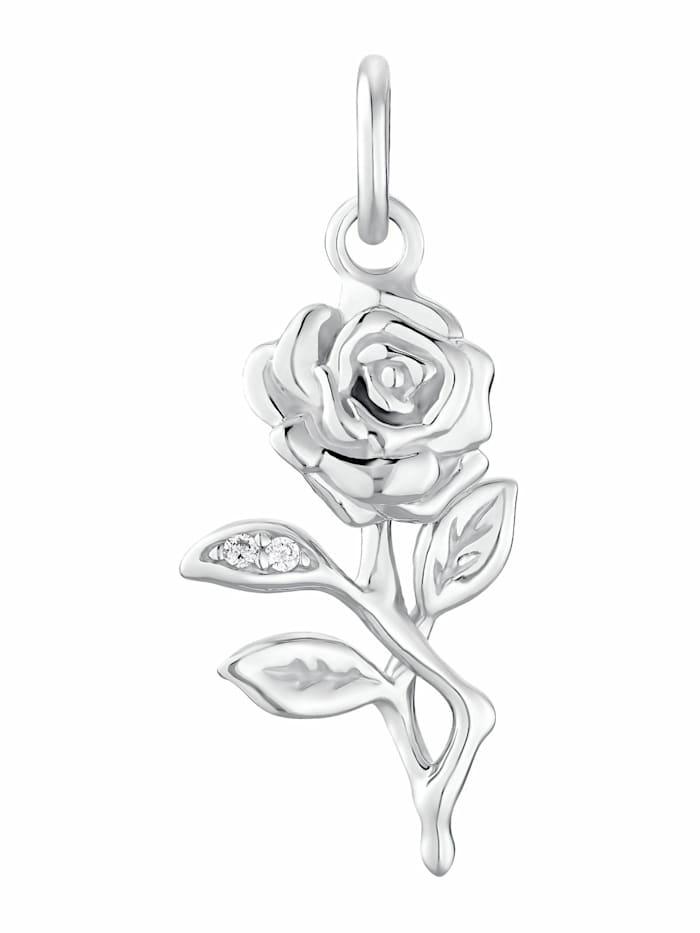 925 Silber Anhänger mit 3 Zirkonia rose