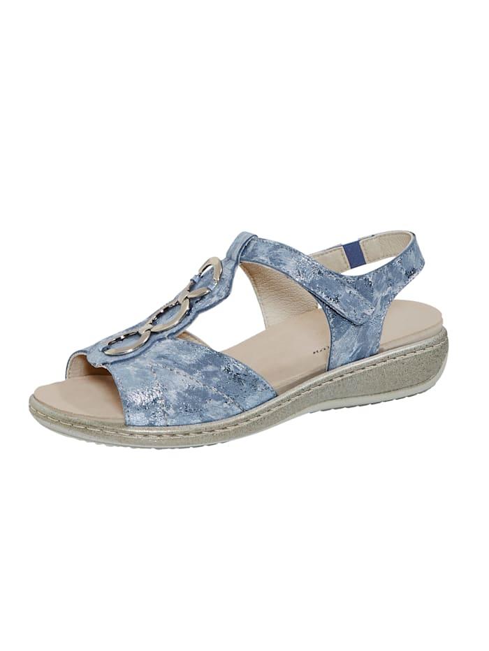 Naturläufer Sandale aus schimmerndem Leder, Blau