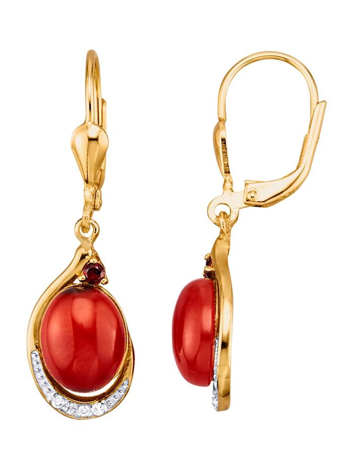 Boucles d'oreilles en argent 925, Rouge