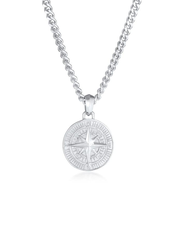 Kuzzoi Halskette Herren Panzerkette Kompass Cool Massiv 925 Silber, Silber