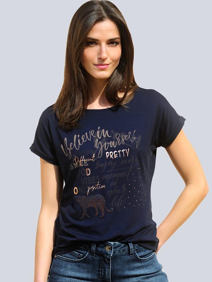 Alba Moda Shirt mit Folienprint im Vorderteil, Marineblau/Cognac
