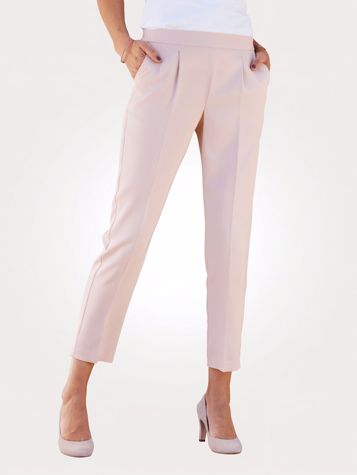 MONA Cropped pull-on trousers with a sophisticated front crease, Rosé