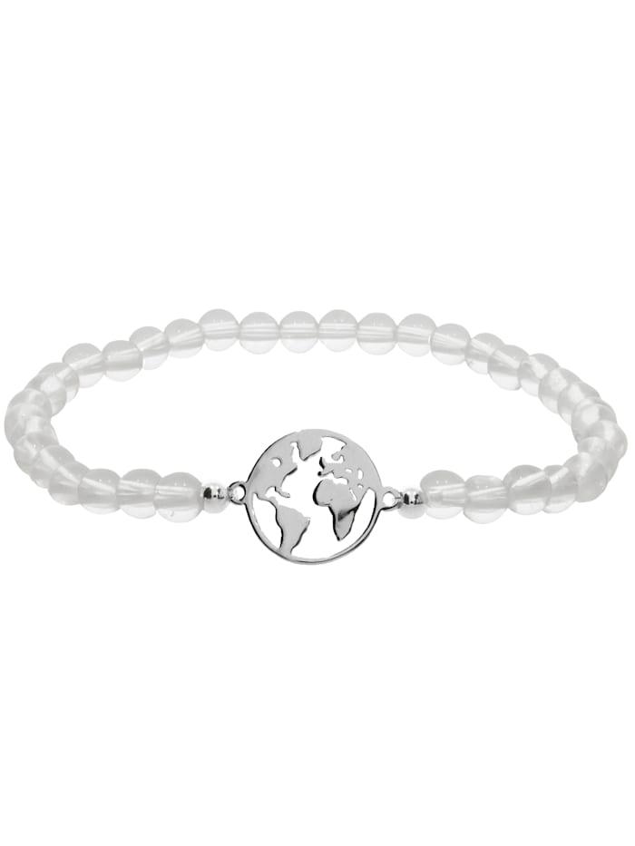 1001 Diamonds Weltkugel Bergkristall Armband 925 Silber 17 cm, transparent