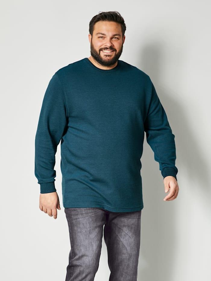 Men Plus Sweatshirt aus reiner Baumwolle, Petrol