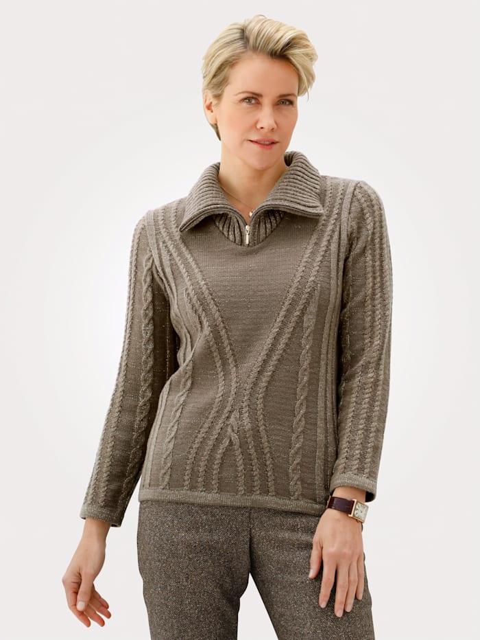 MONA Pullover mit Zopf und Strukturstrick, Braun/Goldfarben