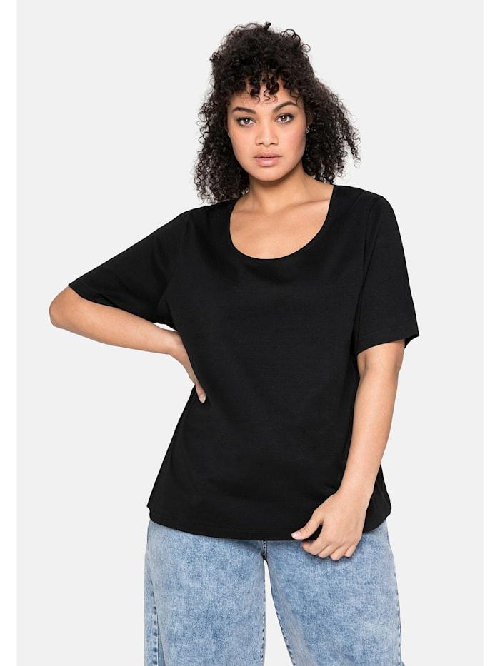 Sheego Sheego T-Shirt aus reiner Baumwolle, schwarz