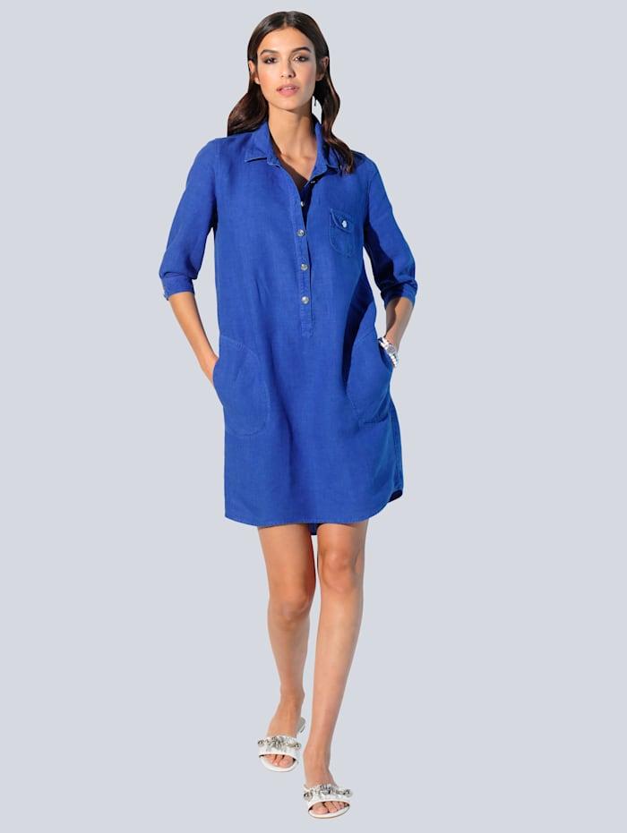 Alba Moda Jurk van hoogwaardig zuiver linnen, Royal blue