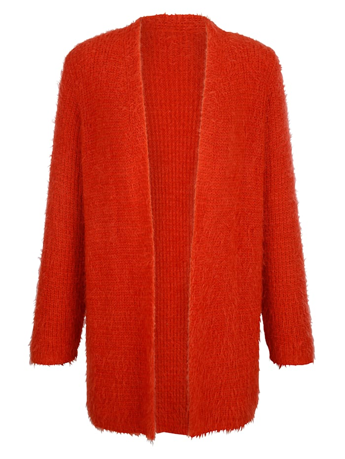 MIAMODA Longstrickjacke in flauschiger Optik, Orange