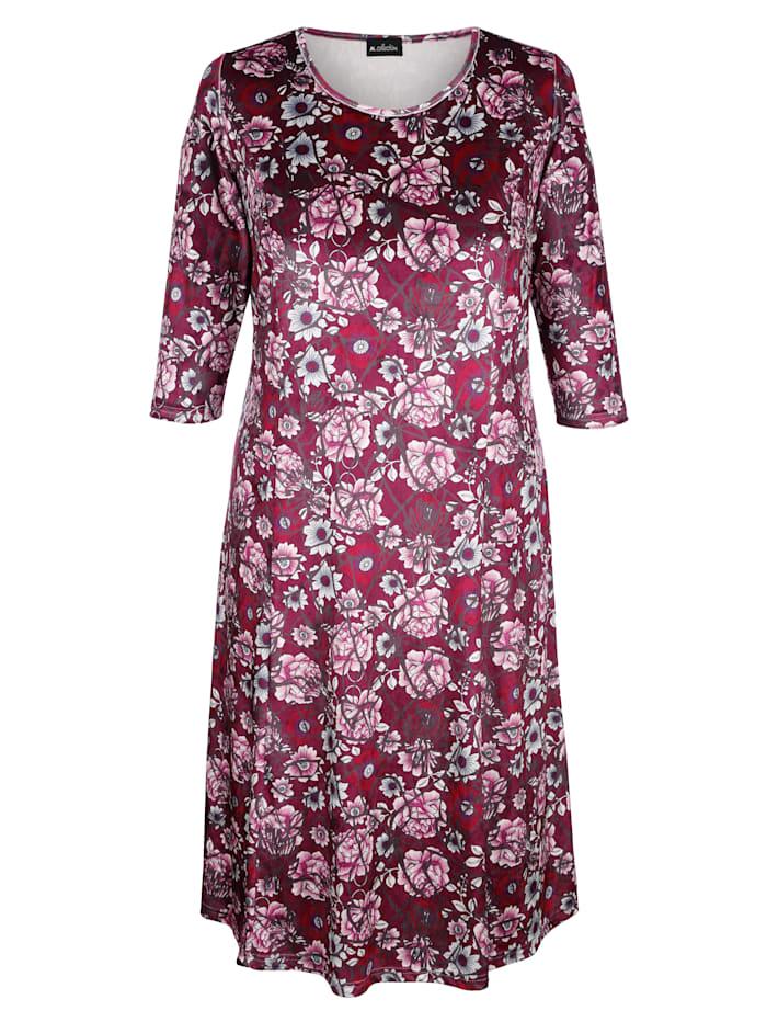 m. collection Sammetsklänning med blommigt mönster, Bordeaux/Rosa