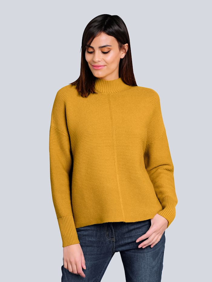 Alba Moda Pullover in kuschelweicher Qualität, Senfgelb