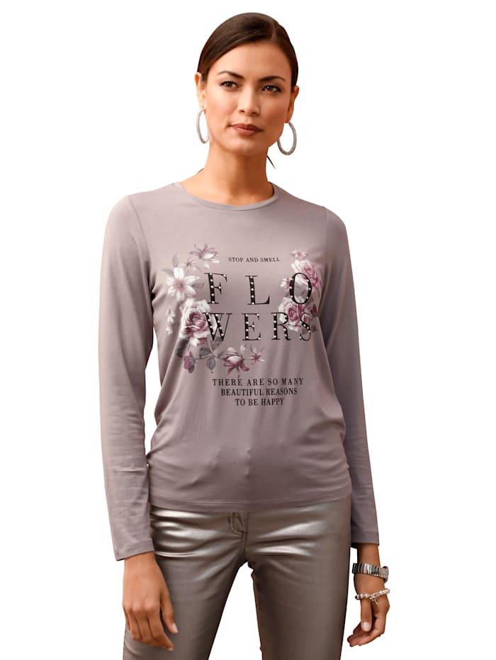 AMY VERMONT Shirt mit Schriftzug im Vorderteil, Lila