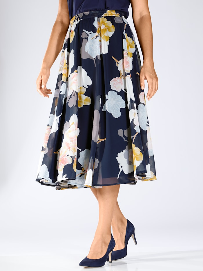 m. collection Rok met trendy bloemenprint, Marine/Roze