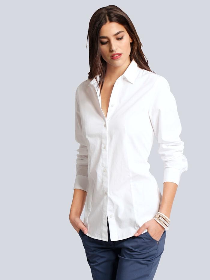 Alba Moda Bluse mit Hemdblusenkragen, Weiß