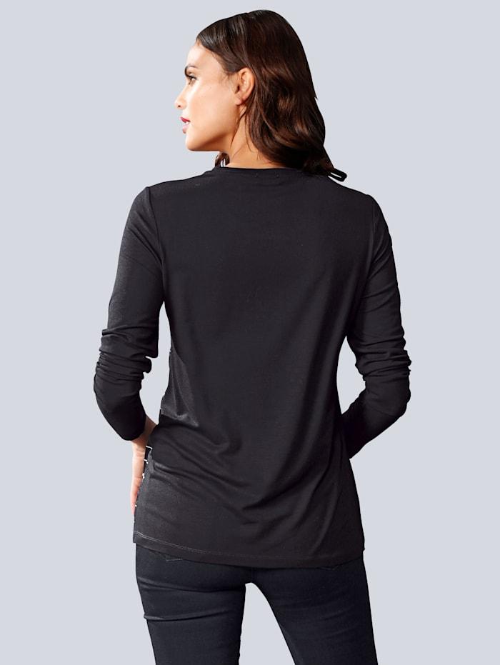 Shirt mit bedrucktem Webeinsatz im Vorderteil