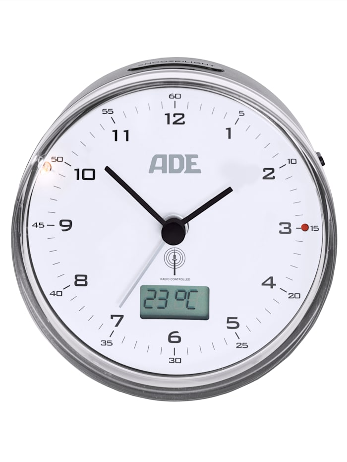 ADE Réveil radio-commandé avec indicateur de température Pas de tic-tac ennuyeux, Gris argenté