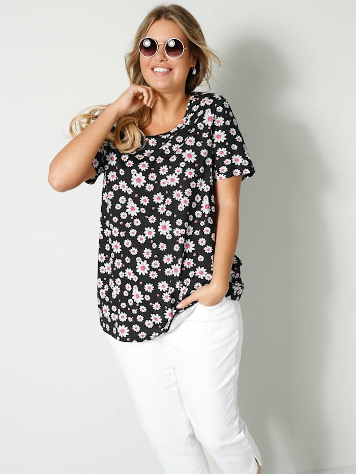 Janet & Joyce T-shirt en pur coton, Noir/Blanc/Corail
