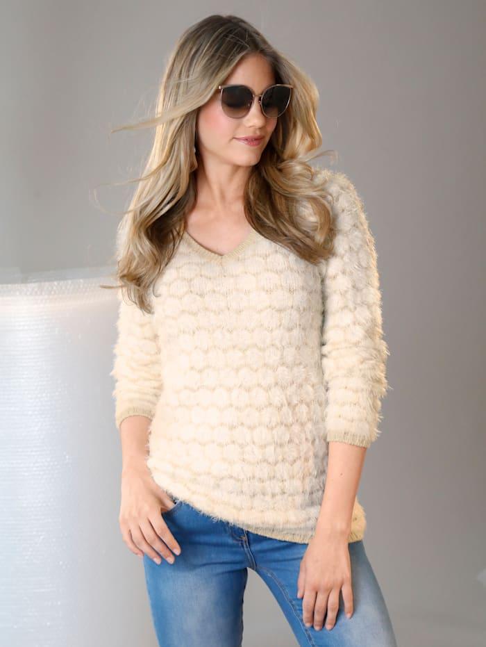 AMY VERMONT Pullover in zweifarbigem Rauten-Dessin, Beige/Weiß