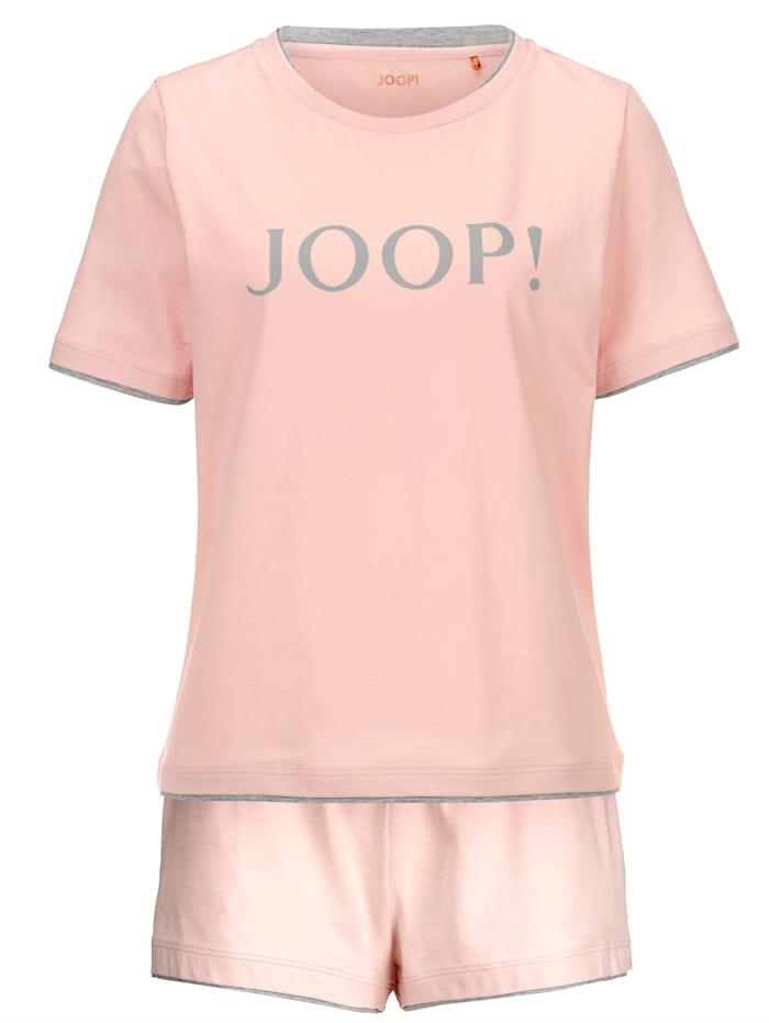 JOOP! Shortama met trendy opschrift, Roze/Grijs