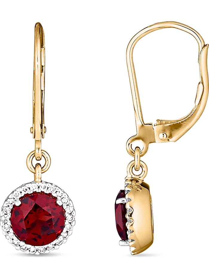 CHRIST Damen-Ohrhänger 585er Gelbgold, 585er Gelbgold teilrhodiniert 2 Granat