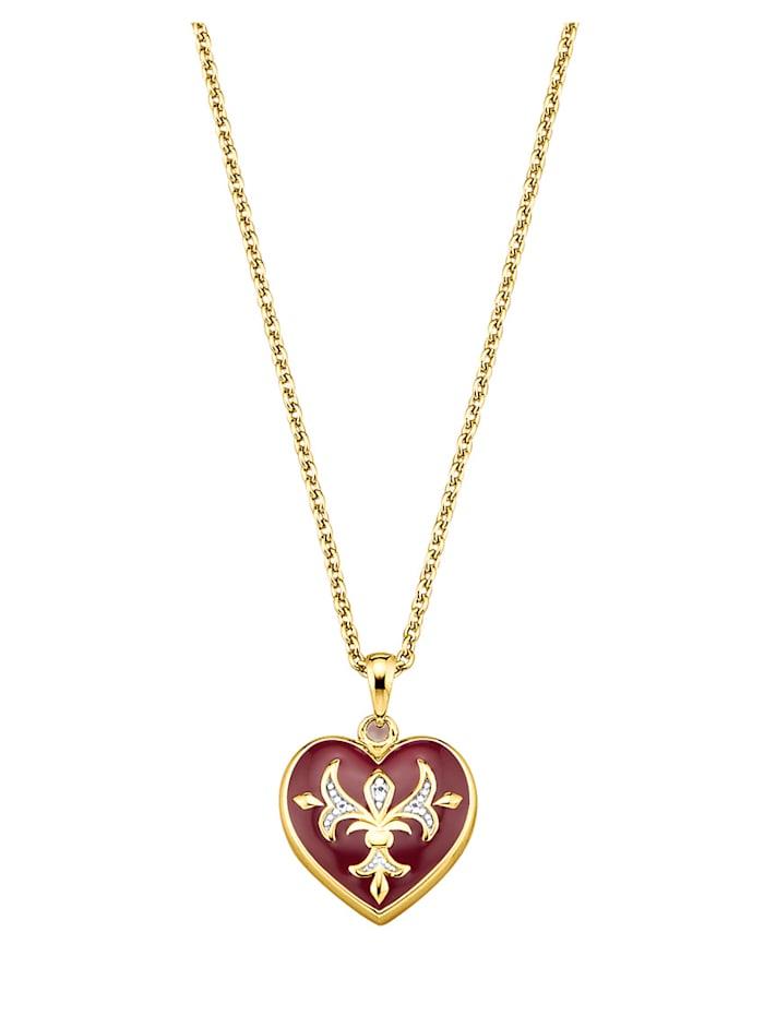 Kullanvärinen sydänriipus ja ketju hopeaa