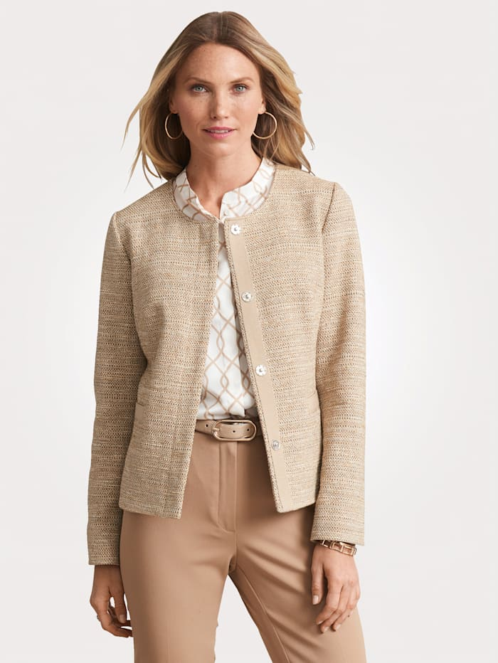 MONA Blazer with interwoven shimmering thread, Beige
