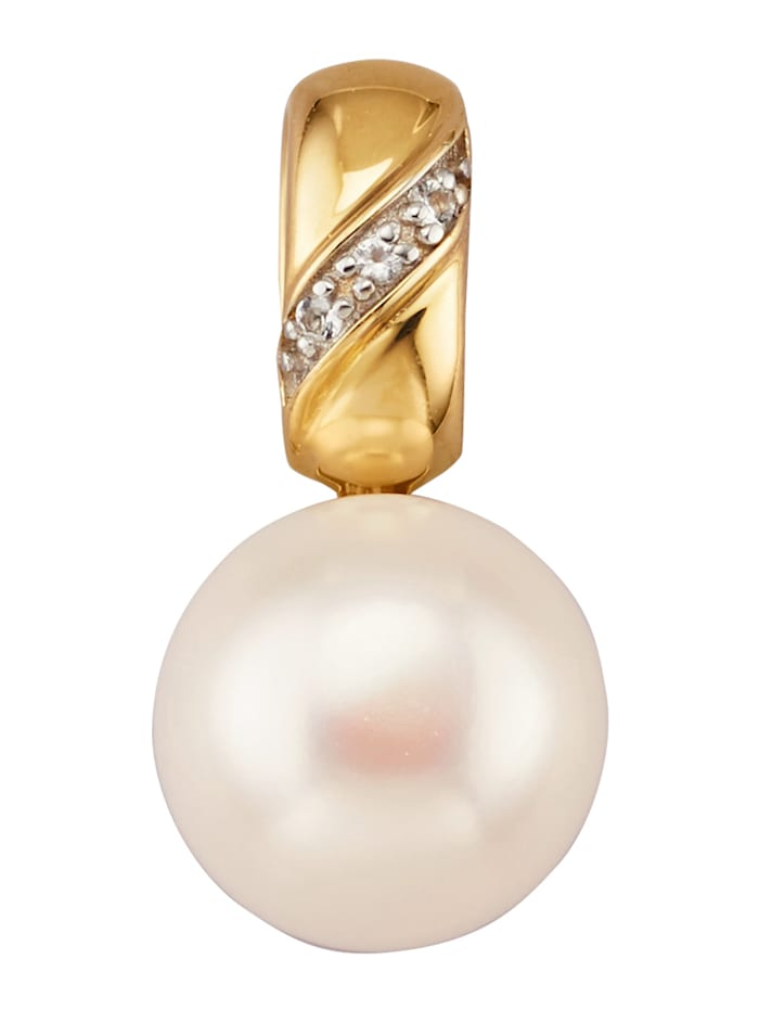 Diemer Perle Anhänger mit Süßwasser-Zuchtperl-Bouton, Weiß