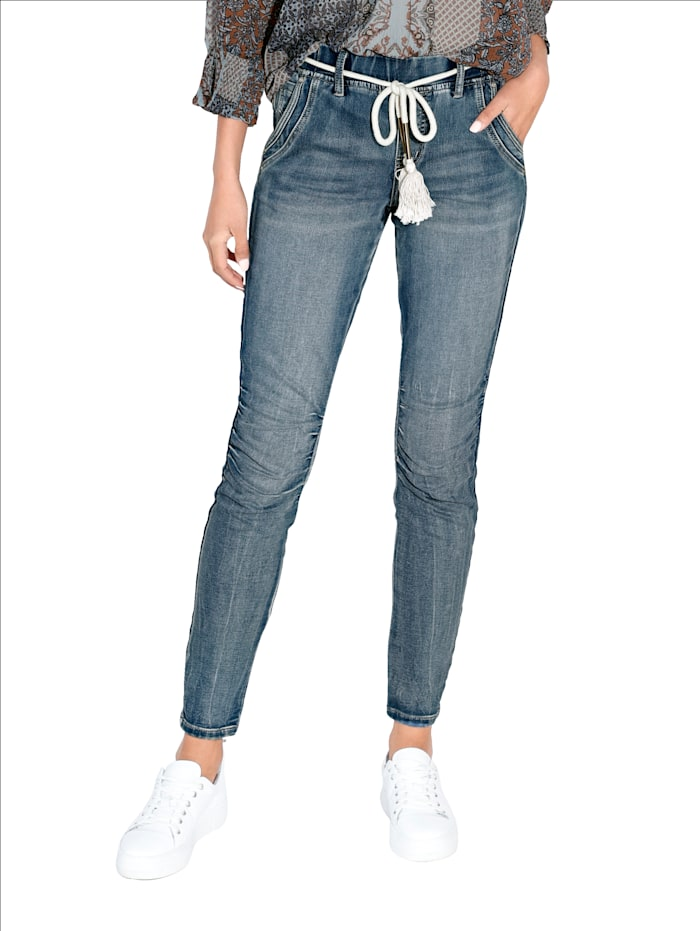 Cream Jeans mit Raffungen am Knie, Blue bleached