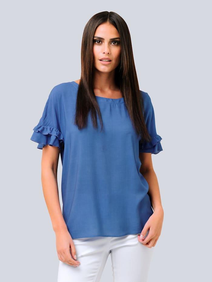 Alba Moda Bluse mit Rüschenbesatz, Blau