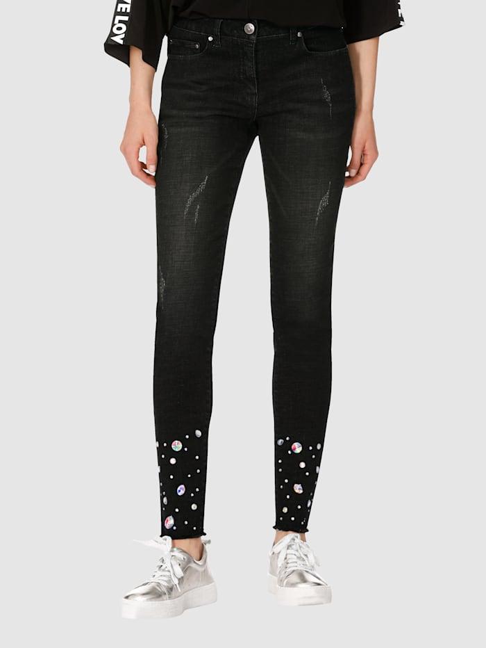 AMY VERMONT Jeans mit Strasssteindekoration, Black