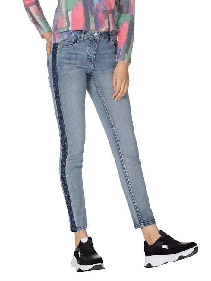 AMY VERMONT Jeans mit Glitzer-Galonstreifen, Blue bleached