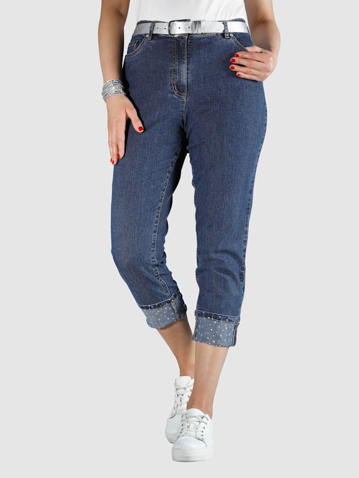 MIAMODA Jeans mit Umschlag und glitzernden Steinchen, Dark blue