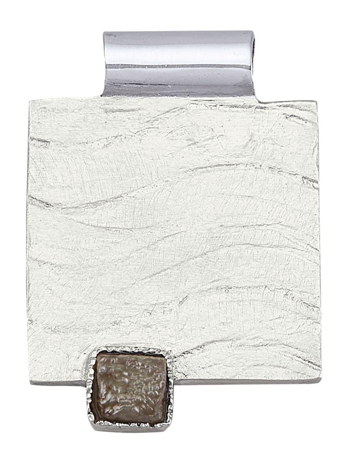 Diemer Atelier Anhänger mit Rohdiamant, Silberfarben