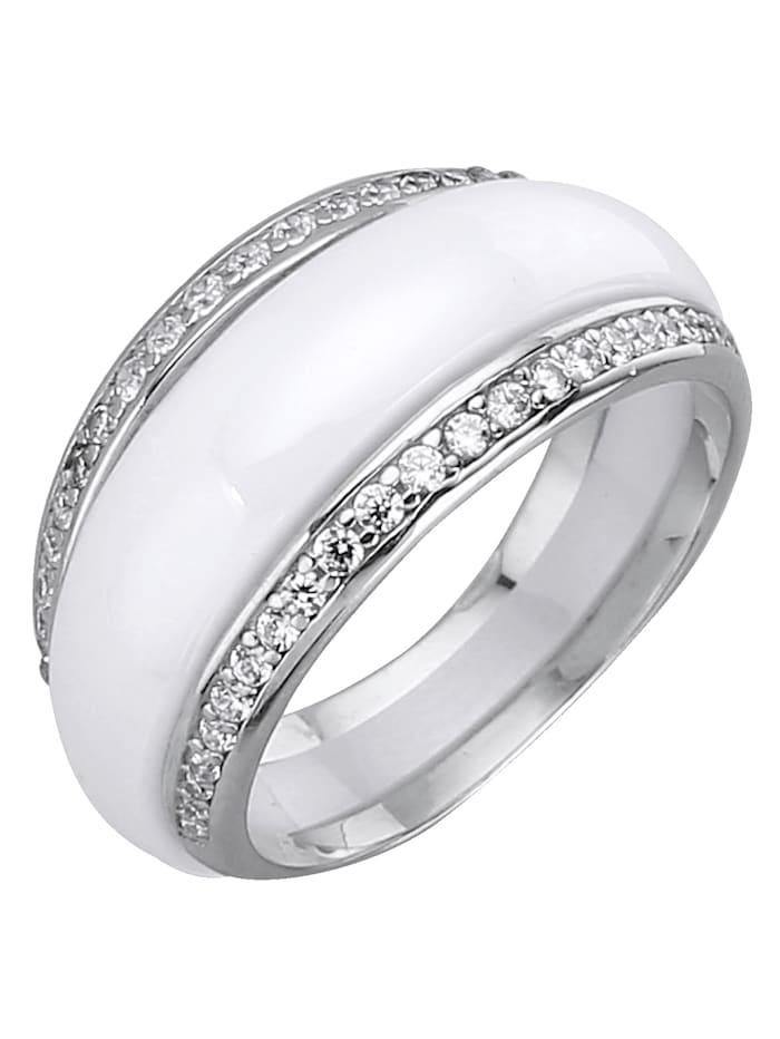 2tlg. Ring-Set aus Keramik und Silber 925