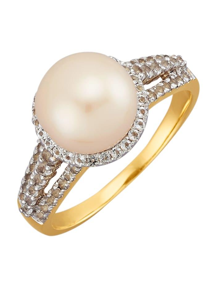 Amara Perles Bague avec perles de culture blanches, Blanc