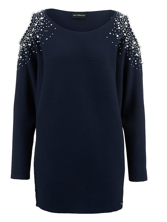 Pullover mit Perlen- und Strasssteindekoration