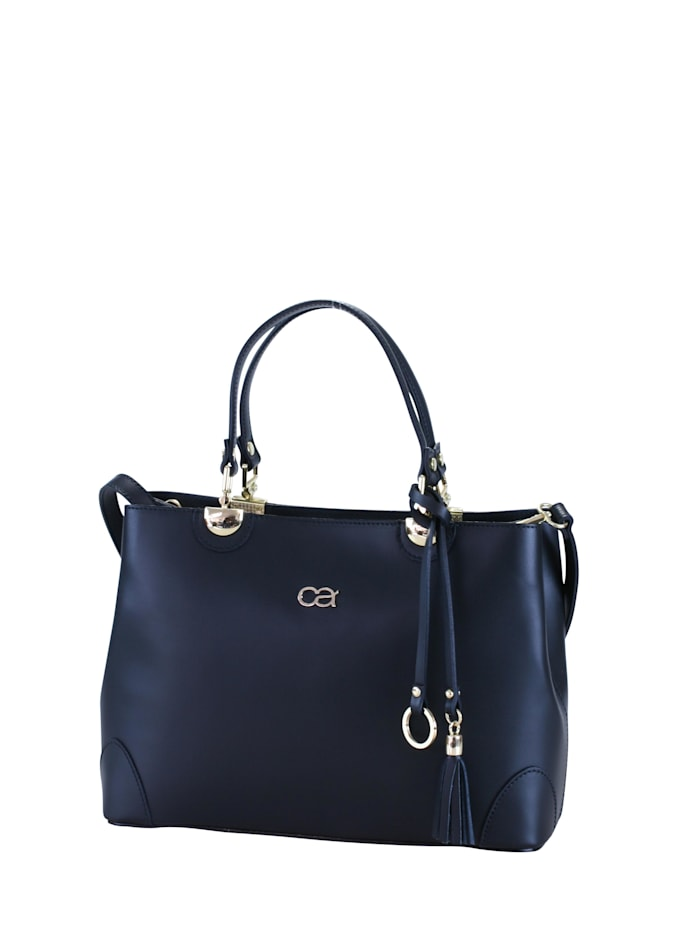 Handtasche Doris hochwertiges Rindsleder mit Quaste und Anhänger