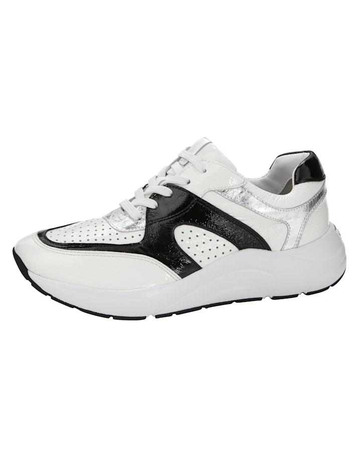 Caprice Sneaker met leren OnAir-voetbed, Wit/Zilverkleur/Zwart
