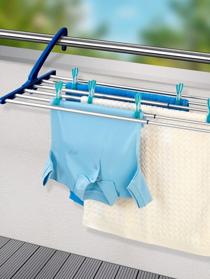 Wenko Étendoir à linge extensible en aluminium, Coloris argent/Bleu
