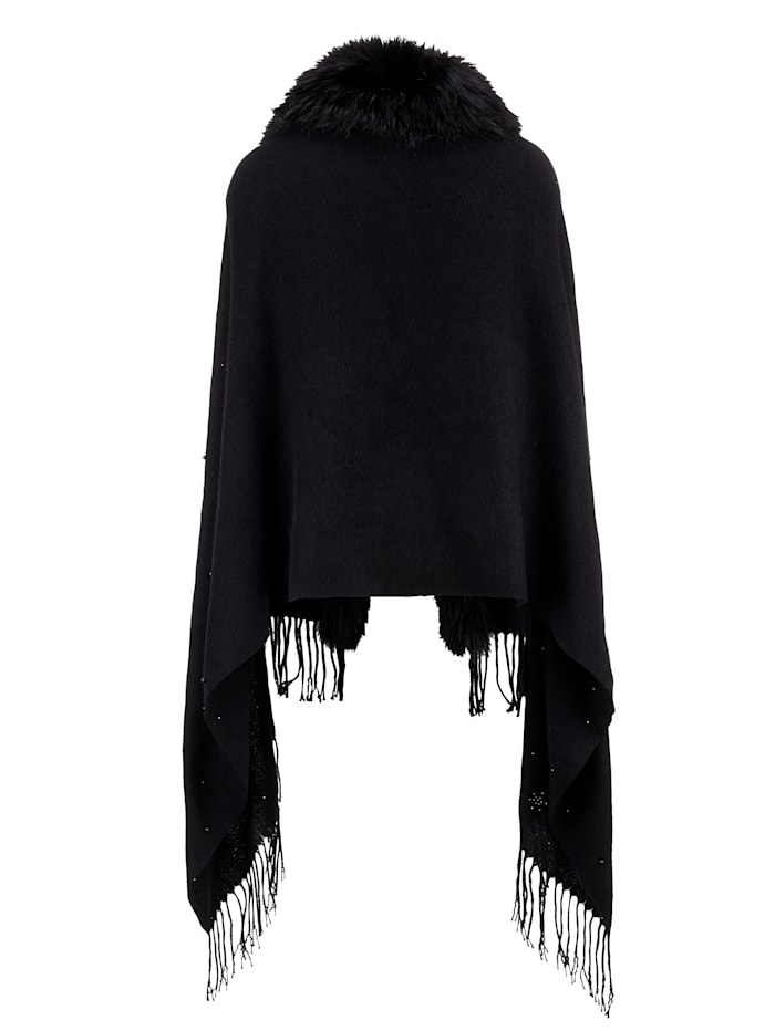 Faux fur shawl with fringed hem
